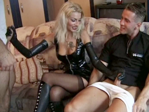 Hot Blonde Giving Two Guys A Handjob At The Same Time In This Hardcore